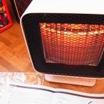 ピンクベージュのおしゃれ暖房器具リフレクトヒーターの存在感◎